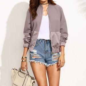 Steely lavender bomber jacket